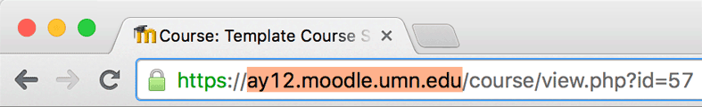 Example of a Moodle AY12 (2.2) URL.
