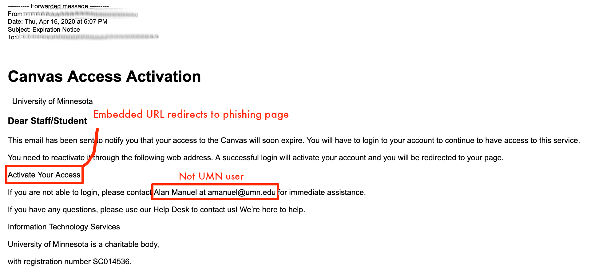 A screenshot of the phishing email message for Canvas