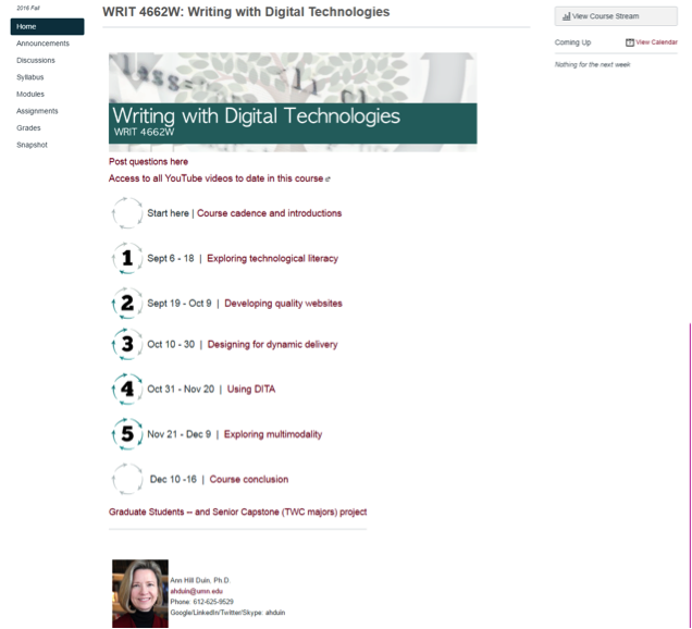 Landing page for Writing with Digital Technologies Canvas course site
