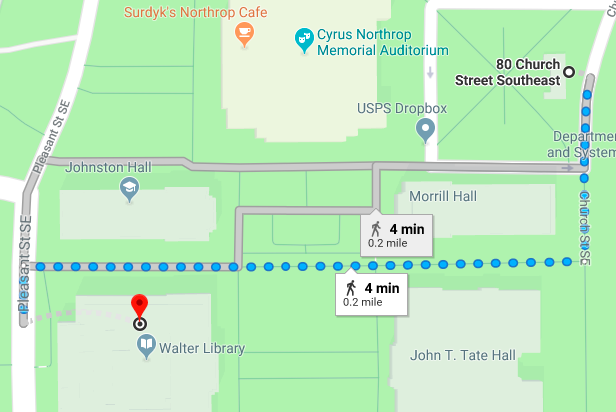 Directions from Church Street Garage to Walter Library