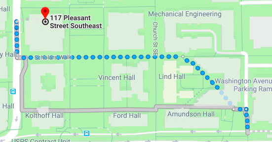 Directions from East Bank Station to Walter Library