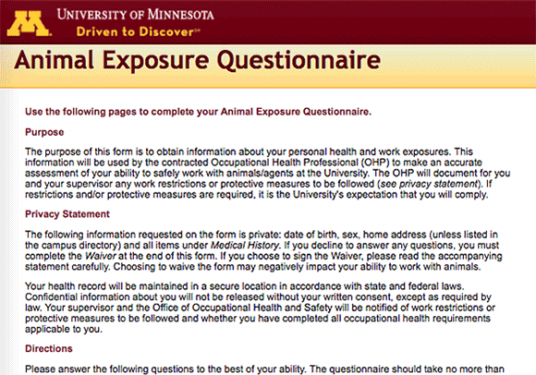 Animal Exposure Questionnaire introduction screen