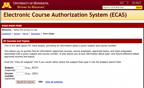 Electronic Course Authorization System (ECAS) home page