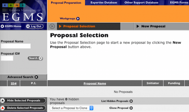 Electronic Grants Management System (EGMS) Proposal Selection screen