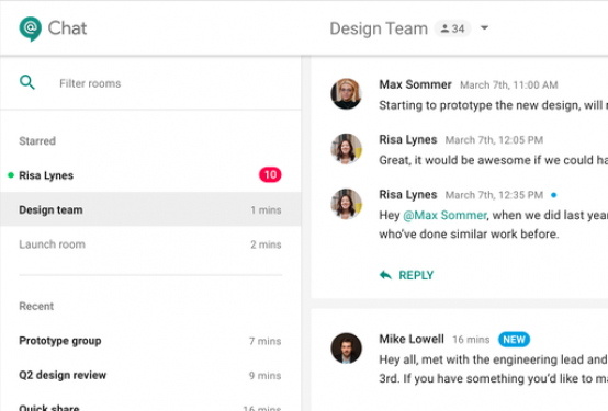 Google Hangouts Chat web browser interface