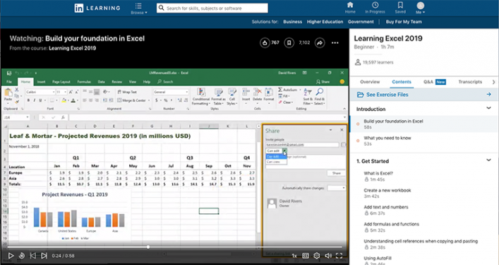 screenshot of a LinkedIn Learning Learning Excel 2019 course