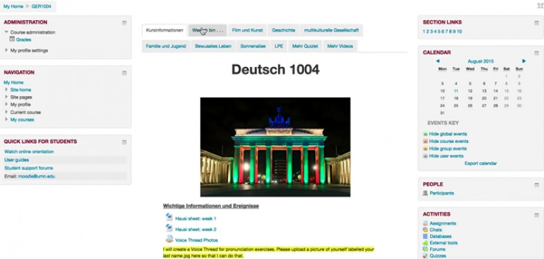screenshot of a sample Moodle course site: Deutsch 1004