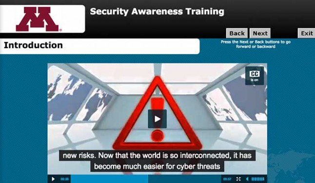 a screen from a required online information security awareness training for University of Minnesota staff