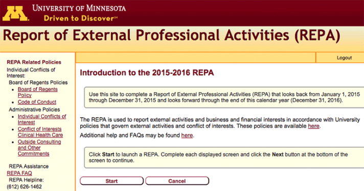Report of External Professional Activities (REPA) home page
