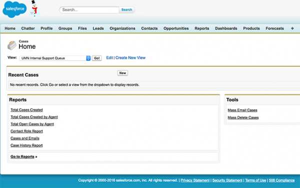 screenshot of the Cases Home page in Salesforce