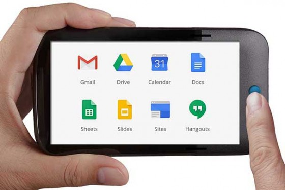 Google Apps for Education logos on a mobile phone
