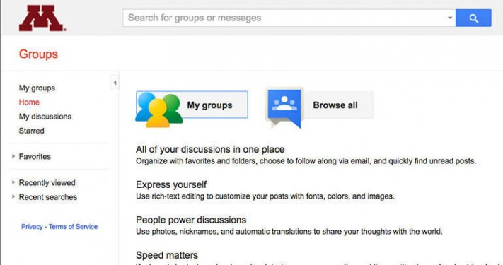 Google Groups at the University of Minnesota home page