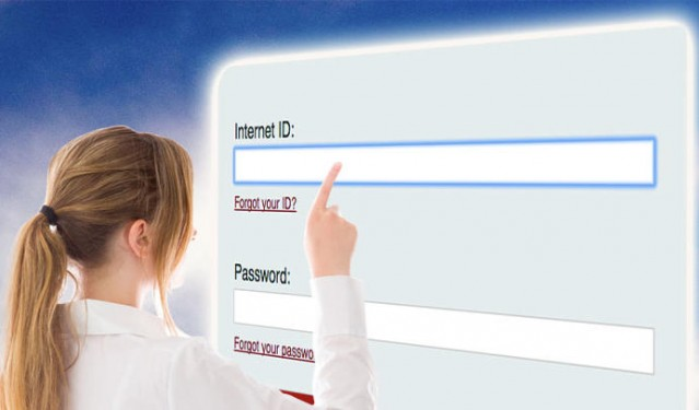 woman pointing at field for entering an Internet ID
