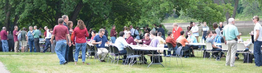 IT staff at a picnic on the Twin Cities campus summer 2016