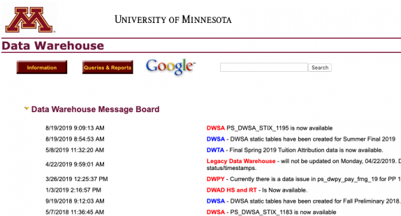 Web Query Tool interface is shown on the UMN data warehouse webpage