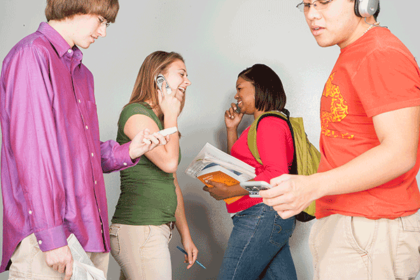 distracted students with cell phones