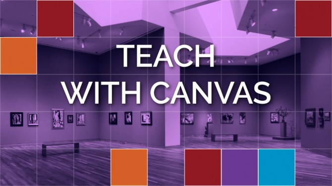 "The text ""Teach with Canvas"" is overlaid on an image of a room in an art museum"