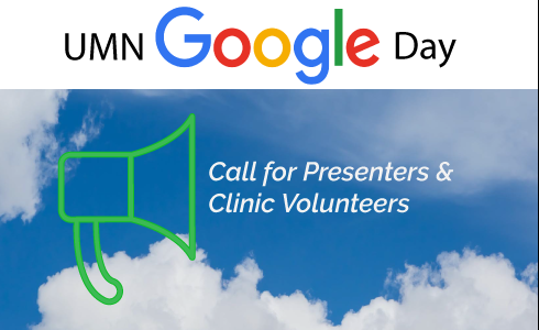 "megaphone with words ""call for presenters and clinic volunteers"""