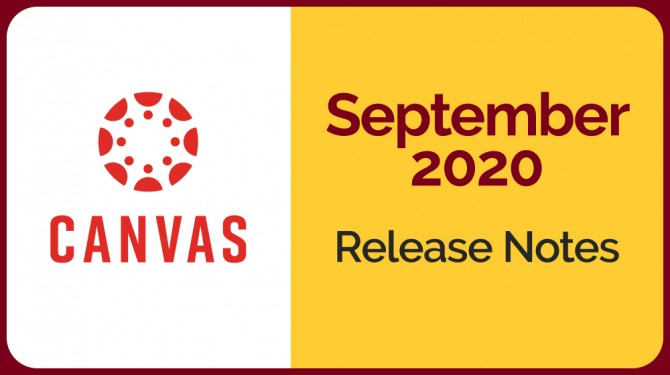 Canvas logo next to yellow field with September 2020 release notes