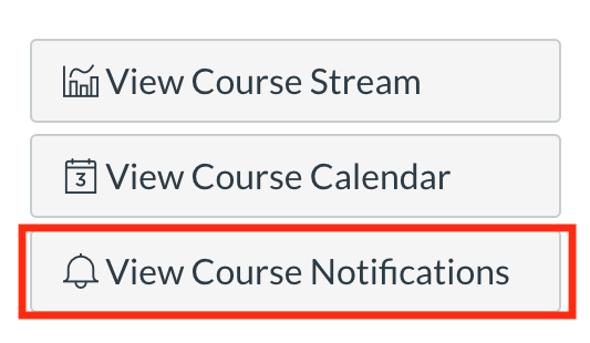 "stack of Canvas menu options with ""View Course Notifications"" highlighted"