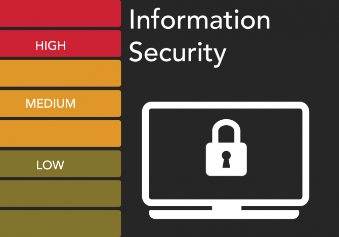 """Information Security"" with bars for high, medium, and low and a graphic of a computer screen displaying a lock"