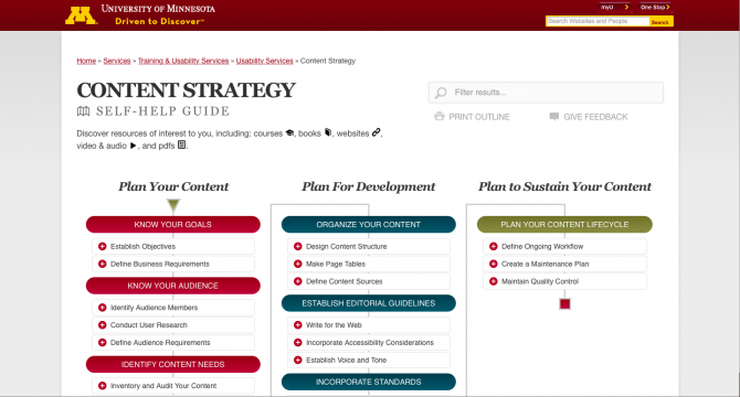 A screenshot of the Content Strategy Self-Help Guide