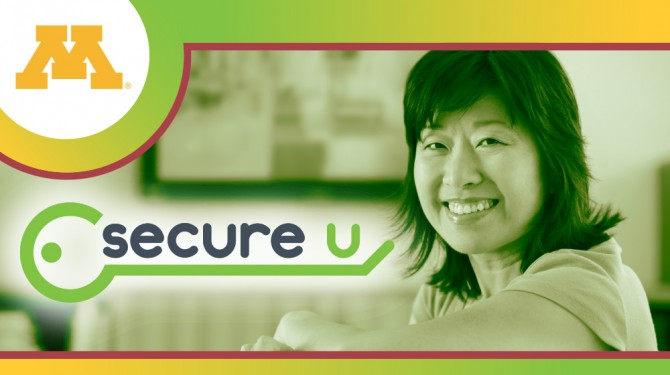 Woman smiling with a green Secure U logo overlaid