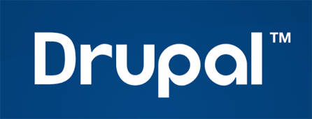 drupal logo on blue background