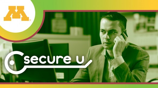 Secure U branded image picturing a man talking on his cellphone while on his computer