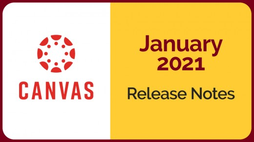 canvas logo on white field next to gold field with January 2021 release notes